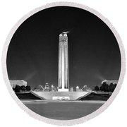 Liberty Memorial In Kansas City Bw Round Beach Towel