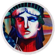 Liberty Of Statue New York 98jhm Round Beach Towel by Gull G