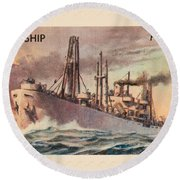 Liberty Ship Stamp Round Beach Towel