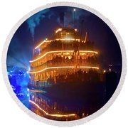 Round Beach Towel featuring the photograph Liberty Square Riverboat by Mark Andrew Thomas