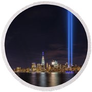 Liberty State Park Tribute In Light Round Beach Towel