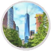 Liberty Tower Round Beach Towel