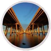 Licata Bridges In Tampa Round Beach Towel