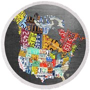 License Plate Map Of North America Canada And The United States On Gray Metal Round Beach Towel