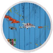 License Plate Map Of The Caribbean Islands Round Beach Towel
