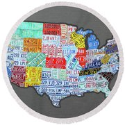 License Plate Map Of The United States Edition 2016 On Steel Background Round Beach Towel