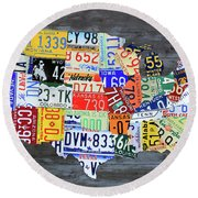 License Plate Map Of The United States Gray Edition 16 With Special Kodiak Bear Alaska Plate Round Beach Towel
