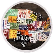 License Plate Map Of The United States - Warm Colors / Black Edition Round Beach Towel