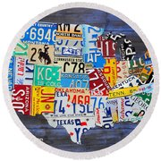 License Plate Map Of The Usa On Blue Wood Boards Round Beach Towel