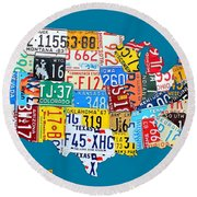 License Plate Map Of The Usa On Royal Blue Round Beach Towel