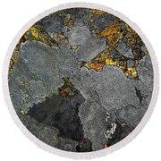 Lichen On Granite Rock Abstract Round Beach Towel
