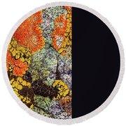 Round Beach Towel featuring the photograph Lichen Palette by Jean Noren