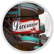 Licorama Bar Liquor Store In Havana Cuba At Calle 6 Round Beach Towel by Charles Harden