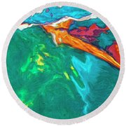 Round Beach Towel featuring the painting Lies Beneath by Dominic Piperata