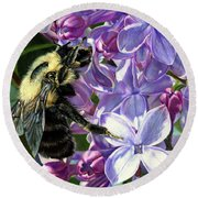 Life Among The Lilacs Round Beach Towel