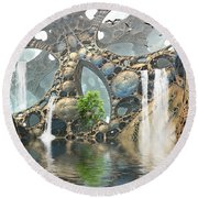 Life Finds A Way Round Beach Towel by Hal Tenny