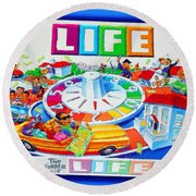 Life Game Of Life Board Game Painting Round Beach Towel