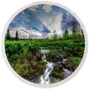 Round Beach Towel featuring the photograph Life Giving Stream by Bryan Carter