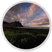 Life In Black And Green Round Beach Towel