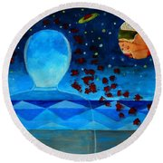 Life In Glass And Fake World Round Beach Towel