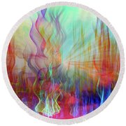 Round Beach Towel featuring the digital art Life Is A Beautiful Mystery by Linda Sannuti