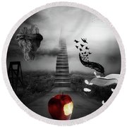 Round Beach Towel featuring the digital art Life Is A Stage by Mo T