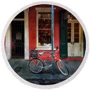 Round Beach Towel featuring the photograph Life Is Good Bicycle by Craig J Satterlee