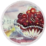 Life Is Just A Bowl Of Cherries Round Beach Towel