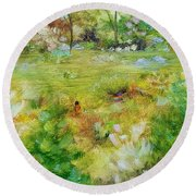 Round Beach Towel featuring the painting Life Lessons by Judith Rhue
