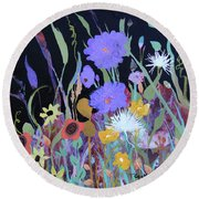 Round Beach Towel featuring the painting Life On A Summer's Day by Robin Maria Pedrero