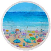 Life On The Beach Round Beach Towel