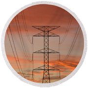 Life On The Grid Round Beach Towel