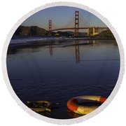 Life Ring And Ships Wheel Round Beach Towel