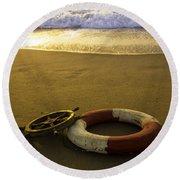 Life Ring On Beach Round Beach Towel