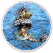 The Princess And The Dragon Round Beach Towel
