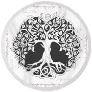 Round Beach Towel featuring the digital art Life Tree. Life Is Like A Tree by Gina Dsgn