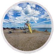Lifeguard At Pike's Beach Round Beach Towel