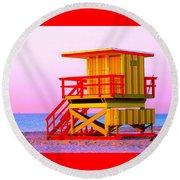 Lifeguard Stand Miami Beach Round Beach Towel