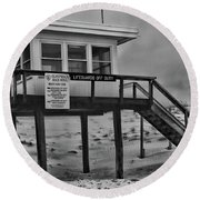 Round Beach Towel featuring the photograph Lifeguard Station 1 In Black And White by Paul Ward