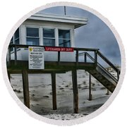 Round Beach Towel featuring the photograph Lifeguard Station 1 by Paul Ward