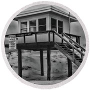 Lifeguard Station 2 In Black And White Round Beach Towel by Paul Ward