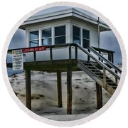 Round Beach Towel featuring the photograph Lifeguard Station 2  by Paul Ward