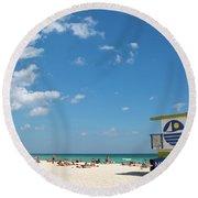 Lifeguard Station Miami Beach Florida Round Beach Towel