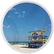 Lifeguard Station Miami Beach Florida Round Beach Towel