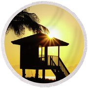 Lifeguard Station Sunburst Delray Beach Florida Round Beach Towel