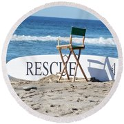 Lifeguard Surfboard Rescue Station  Round Beach Towel