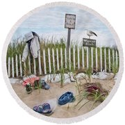Round Beach Towel featuring the photograph Life's A Beach by Robin-Lee Vieira