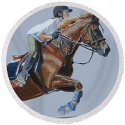 Horse Jumper Round Beach Towel