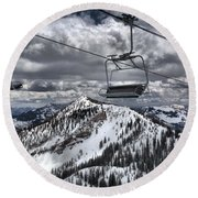 Lift Chairs Above The Wasatch Peaks Round Beach Towel