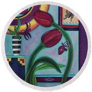 Lifting And Loving Each Other Round Beach Towel